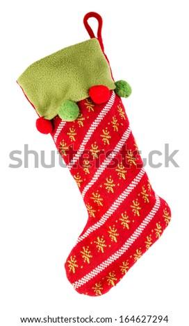 Christmas stocking isolated on white background - stock photo