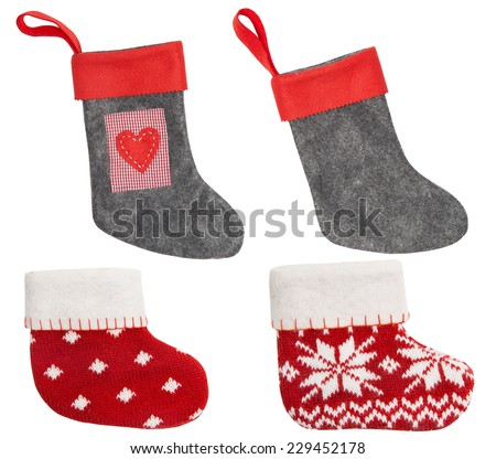 Christmas Stocking, Red Sock Hanging Isolated On White Background - stock photo