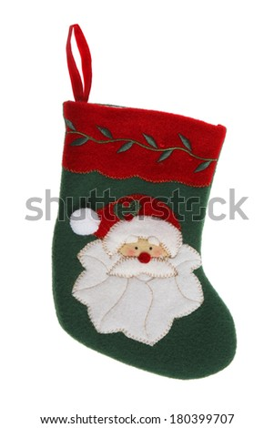 Christmas stocking with depiction of Santa on white background