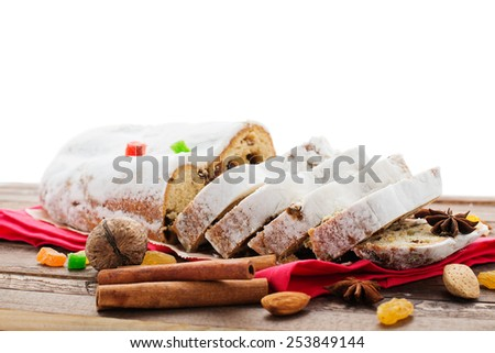 Christmas Stollen. - stock photo