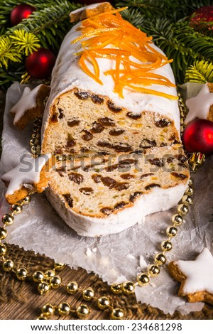 Christmas Stollen with orange julienne - stock photo