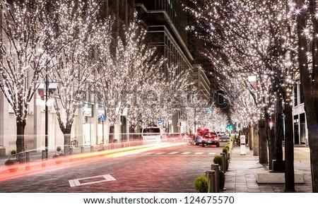 Christmas street light - stock photo