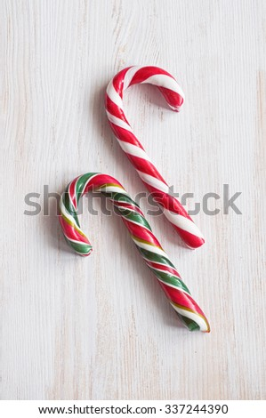 Christmas striped candy - stock photo