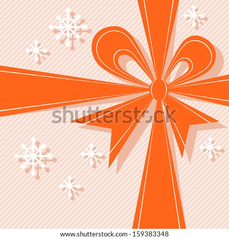 Christmas stylized gift box with red ribbon, big bow, snowflakes. Light festive background for invitation, greeting card. Simple abstract holiday decorative winter illustration for print, web  - stock photo