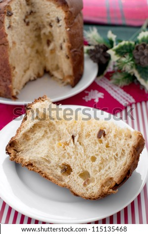 Christmas sweet bread italian panettone vertical - stock photo