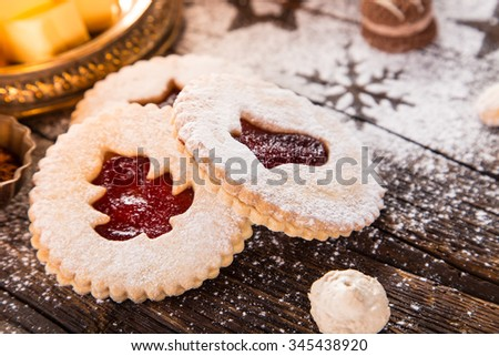Christmas sweets over wooden background, close-up. - stock photo