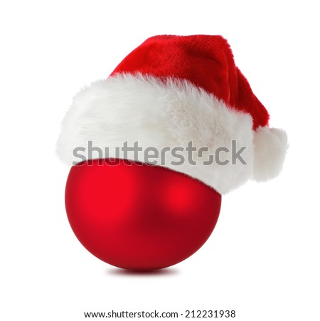 Christmas symbol, red christmas ball wearing santa's hat isolated on white background - stock photo