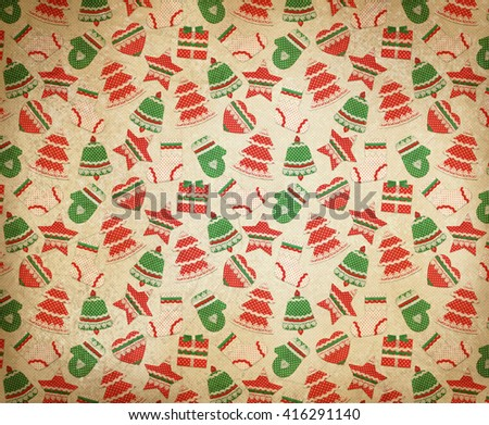 Christmas symbols retro background. - stock photo