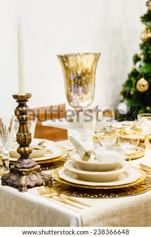 Christmas table - stock photo