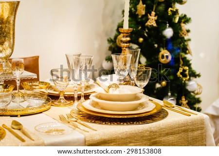 Christmas table - stock photo