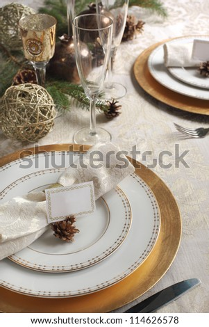 Christmas table decoration - stock photo