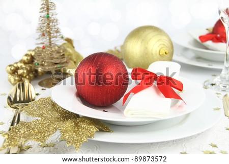 Christmas table decoration - stock photo