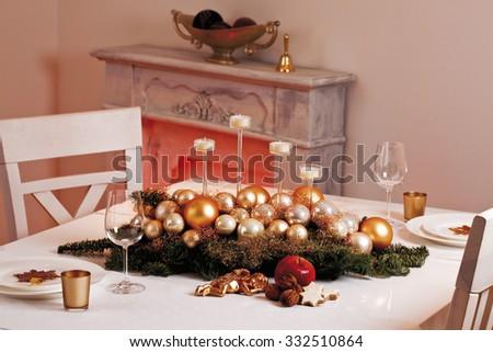 Christmas table decoration with christmas tree balls - stock photo