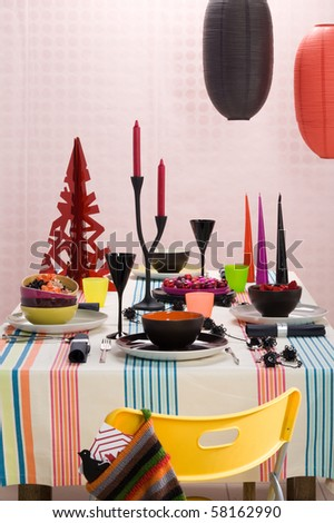 christmas table setting - stock photo