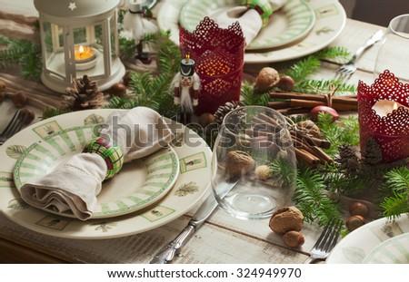 Christmas table setting. Holiday Decorations. - stock photo