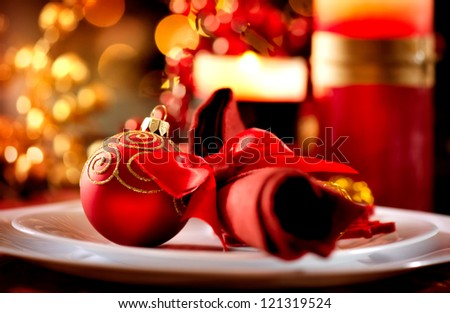 Christmas Table Setting. Holiday Decorations. Decor. New Year Celebration - stock photo