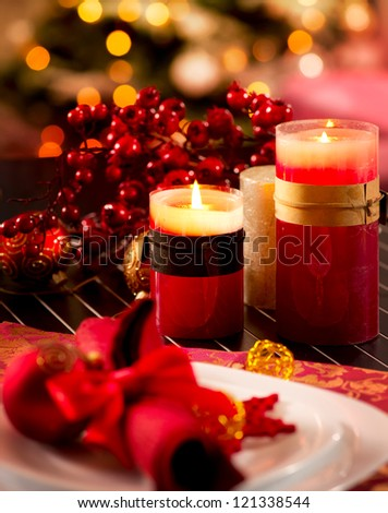 Christmas Table Setting. Holiday Decorations. Decor. New Year Celebration - stock photo