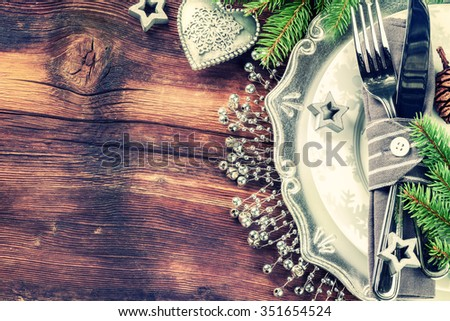 Christmas table setting in silver tone. Copy space  - stock photo