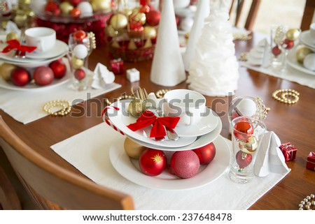 christmas table setting, new year table setting - stock photo