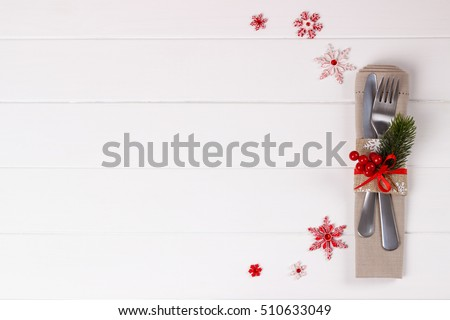 Christmas table setting on white wooden stock photo 510633049 christmas table setting on white wooden tableristmas card template pronofoot35fo Image collections