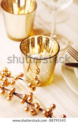 Christmas table setting with candles - stock photo