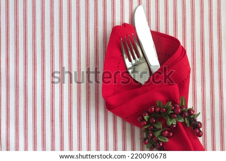 Christmas table setting with space for text - stock photo