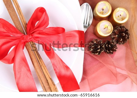 Christmas tableware, decorated with cinnamon sticks, ribbon, burning candles and cones