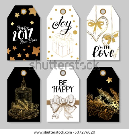Christmas tags with hand drawn elements. Graphics and lettering greeetings. Happy New Year labels set. Hand drawn sketch vintage Raster copy illustrations. Gold design