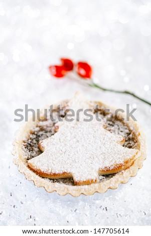 christmas  tart with marzipan tree on white snow festive background - stock photo