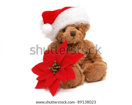 Christmas Teddy bear on the white background - stock photo