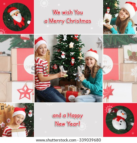 Christmas theme collage. Happy children with toys near Christmas tree. Gifts