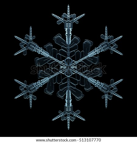 Christmas theme 3d illustration of transparent detailed snowflake. Winter element on the black background. Isolated 3d generated snowflake model.