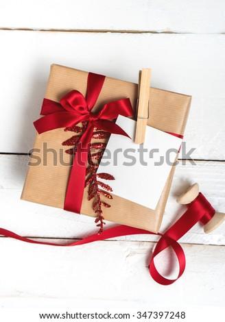 Christmas theme. Handmade Gift wrapping for Christmas and New Year - stock photo