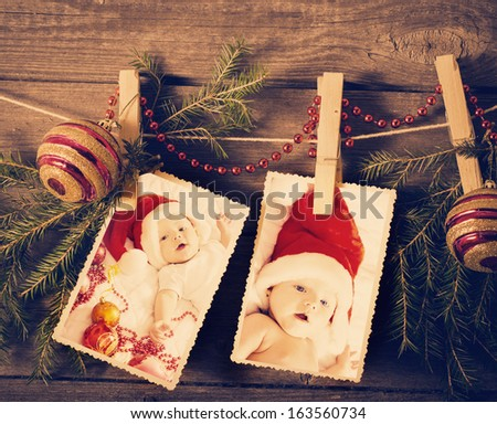Christmas theme  on wooden planks