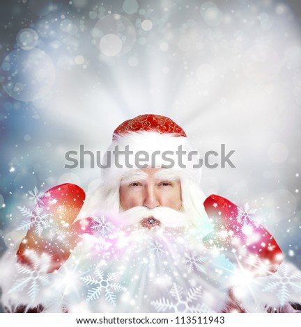 Christmas theme: Santa Claus blowing snowflakes from his arms. Designed Poster