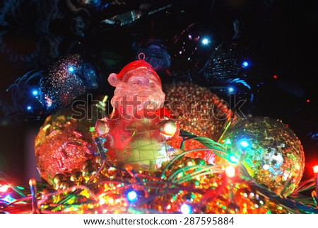 Christmas theme,  Santa Claus with bead and bauble - stock photo