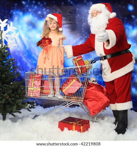 Christmas theme: Santa  gifts, shopping with a child.