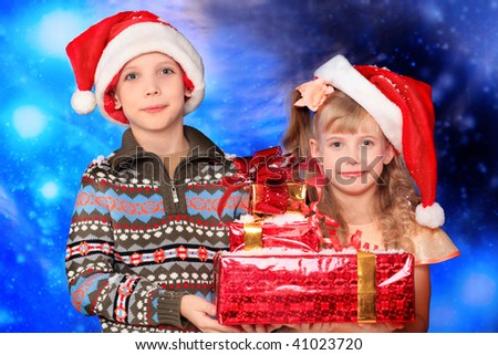Christmas theme: Santa  gifts, snowy design, children.