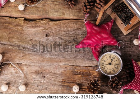Christmas theme. Various objects on the table - stock photo