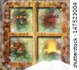 Christmas through a wooden window  - stock
