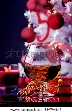 Christmas time glass of whiskey decoration and gifts
