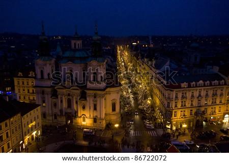 Christmas time in Prague, Czech Republic - stock photo