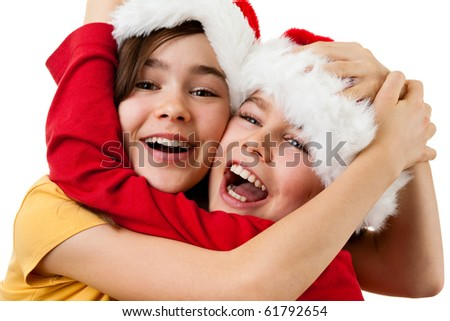 Christmas time - kids with Santa Claus Hat isolated on white background