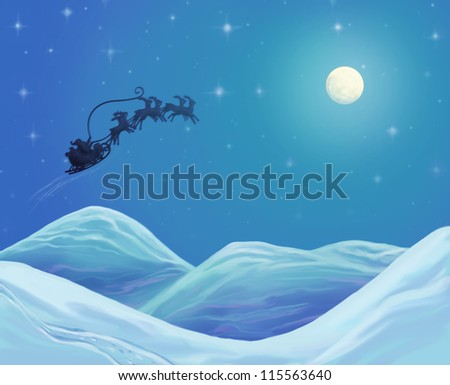 Christmas time, Santa Claus on his way in the North Sky, raster illustration card