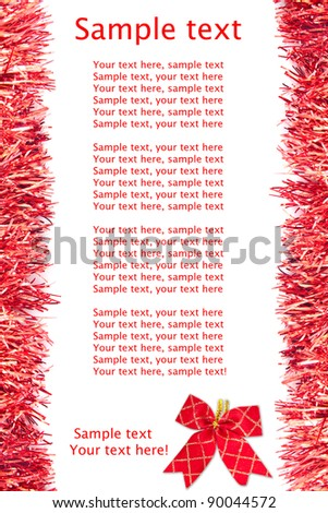 christmas tinsel frame with space for text - stock photo