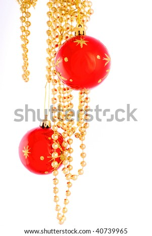 Christmas toy and beads 1 - stock photo