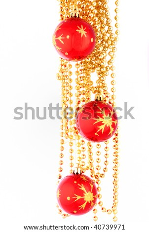 Christmas toy and beads 3 - stock photo