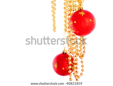Christmas toy and beads 7 - stock photo