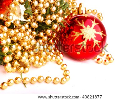 Christmas toy and beads 27 - stock photo