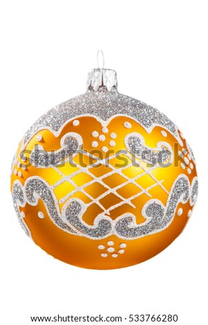Christmas toy ball with pattern on white background